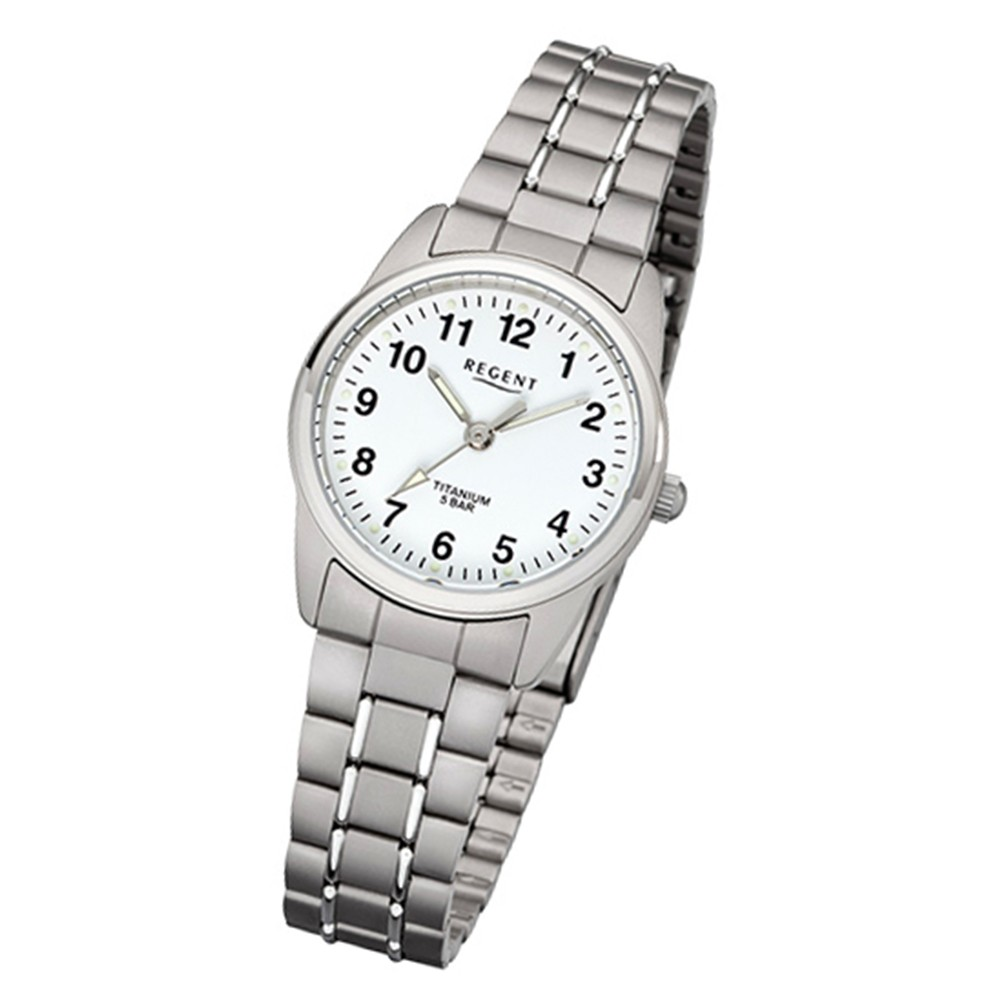 Regent Damen-Armbanduhr 32-F-1085 Quarz-Uhr Titan-Armband grau URF1085