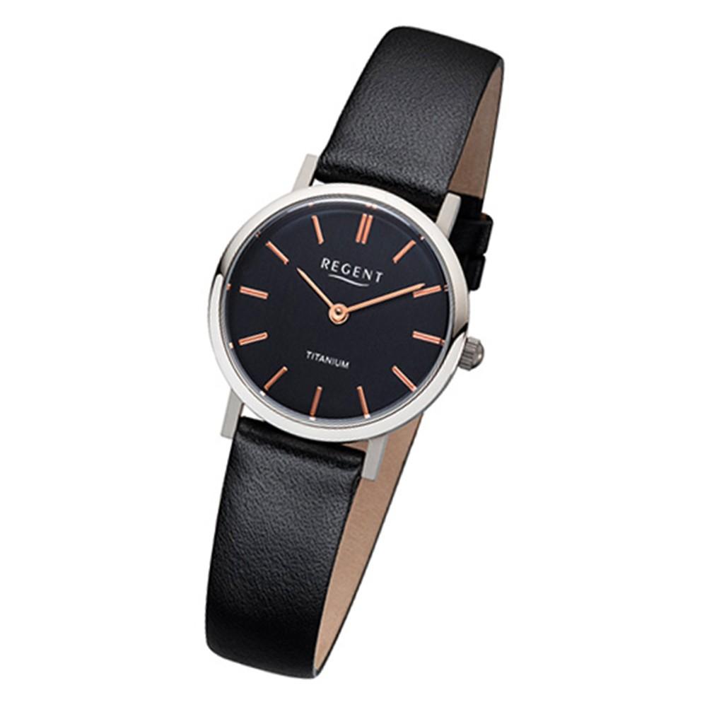 Regent Damen-Armbanduhr 32-F-1086 Quarz-Uhr Leder-Armband schwarz URF1086