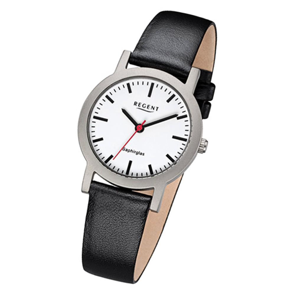 Regent Damen-Armbanduhr 32-F-1088 Quarz-Uhr Leder-Armband schwarz URF1088