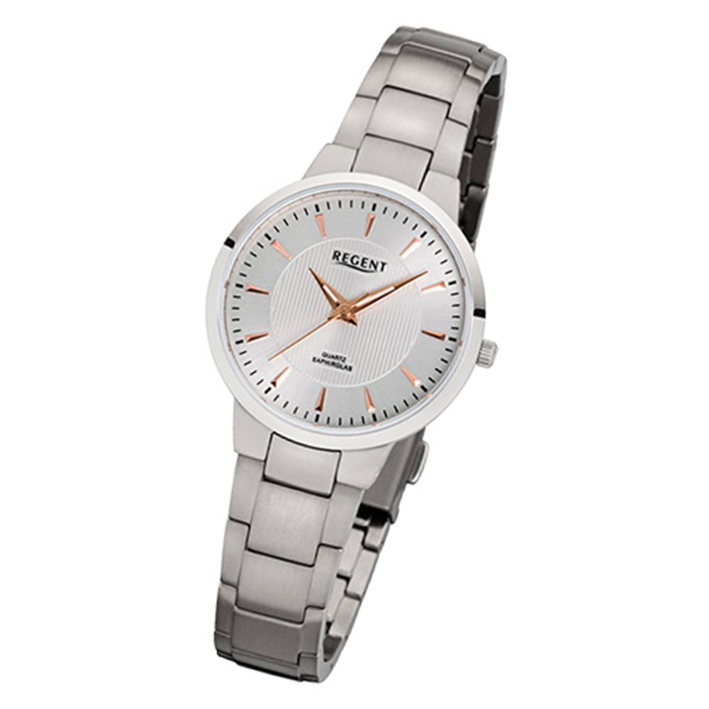 Regent Damen-Armbanduhr 32-F-1089 Quarz-Uhr Titan-Armband silber URF1089