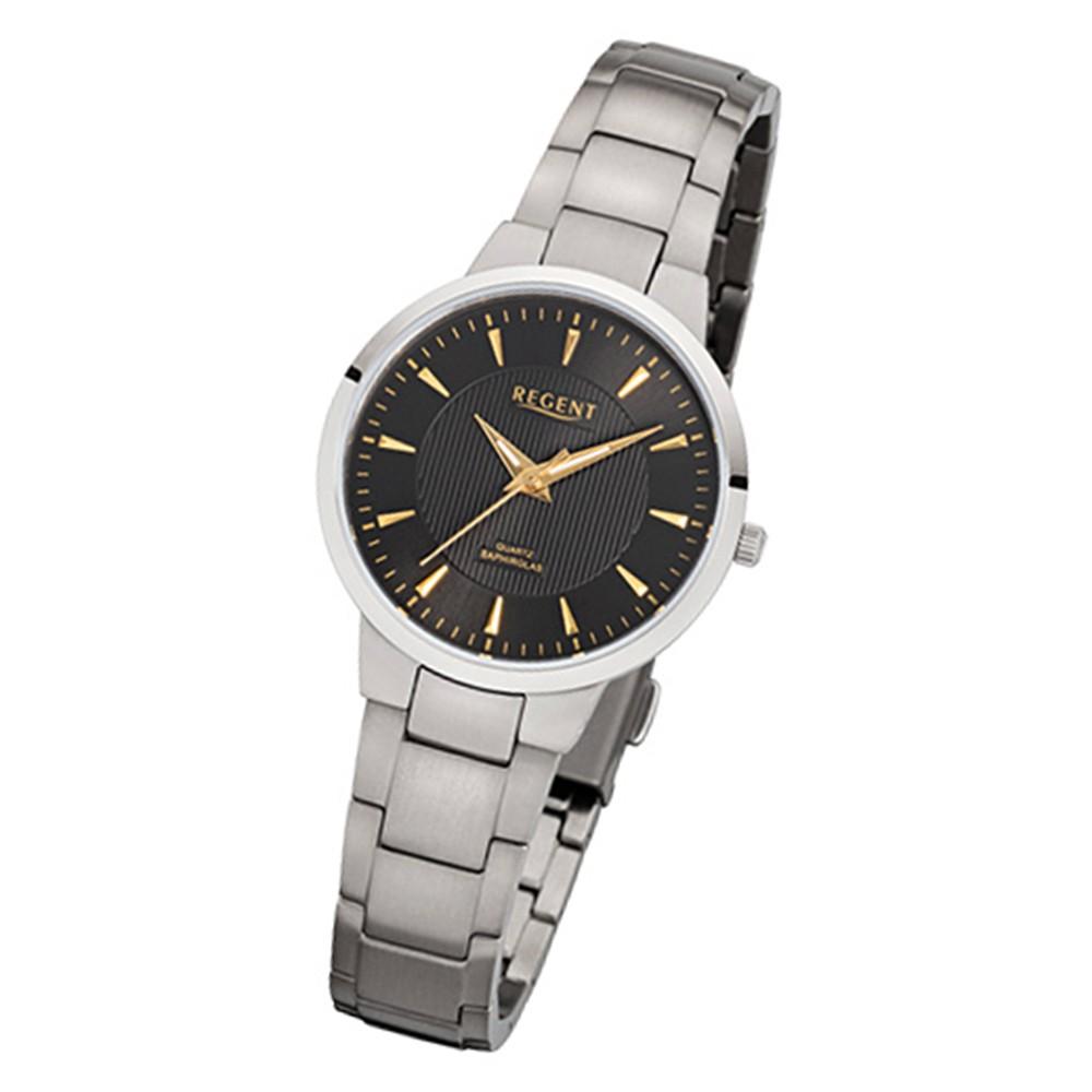 Regent Damen-Armbanduhr 32-F-1090 Quarz-Uhr Titan-Armband silber URF1090