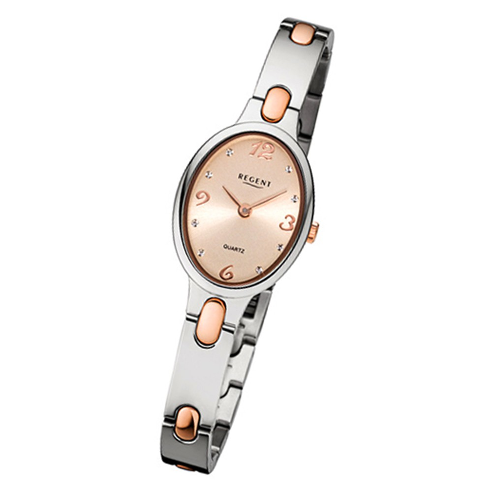 Regent Damen-Armbanduhr 32-F-1094 Quarz-Uhr Titan-Armband silber rosegold URF1094