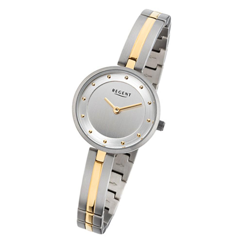 Regent Damen-Armbanduhr 32-F-1100 Quarz-Uhr Titan-Armband silber gold URF1100
