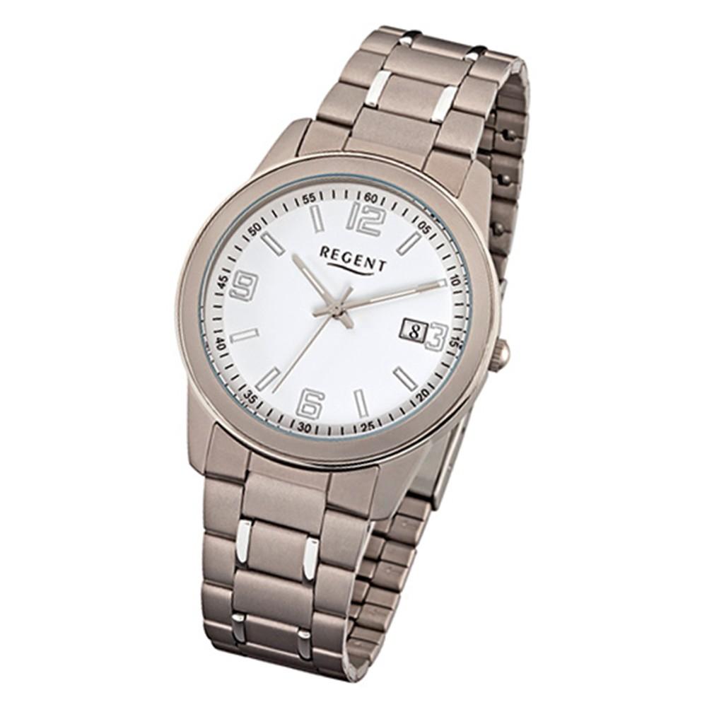 Regent Herren-Armbanduhr 32-F-1103 Quarz-Uhr Titan-Armband silber grau URF1103