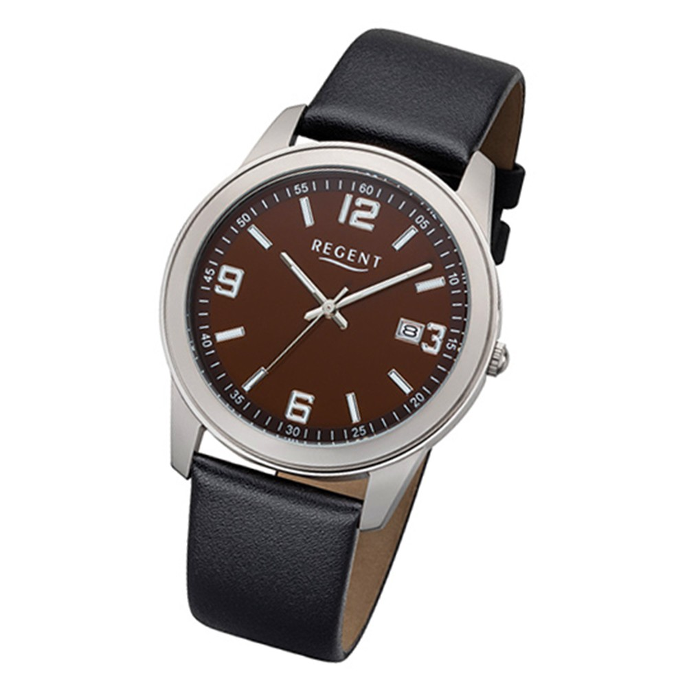 Regent Herren-Armbanduhr 32-F-1106 Quarz-Uhr Leder-Armband schwarz URF1106