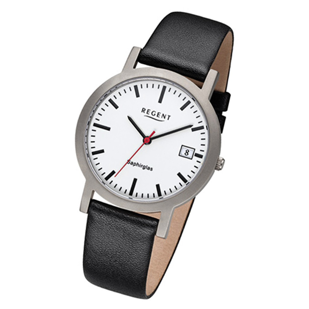 Regent Herren-Armbanduhr 32-F-1108 Quarz-Uhr Leder-Armband schwarz URF1108