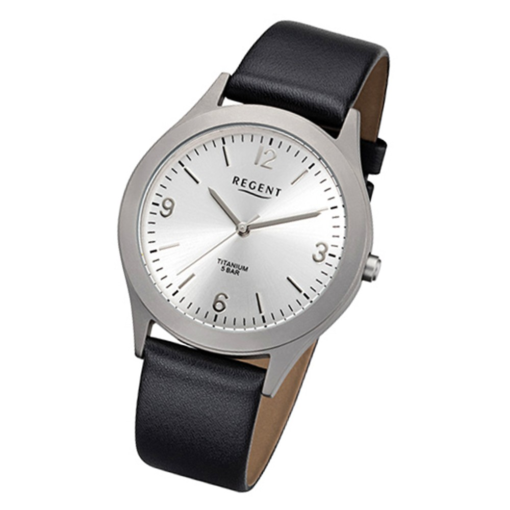 Regent Herren-Armbanduhr 32-F-1109 Quarz-Uhr Leder-Armband schwarz URF1109