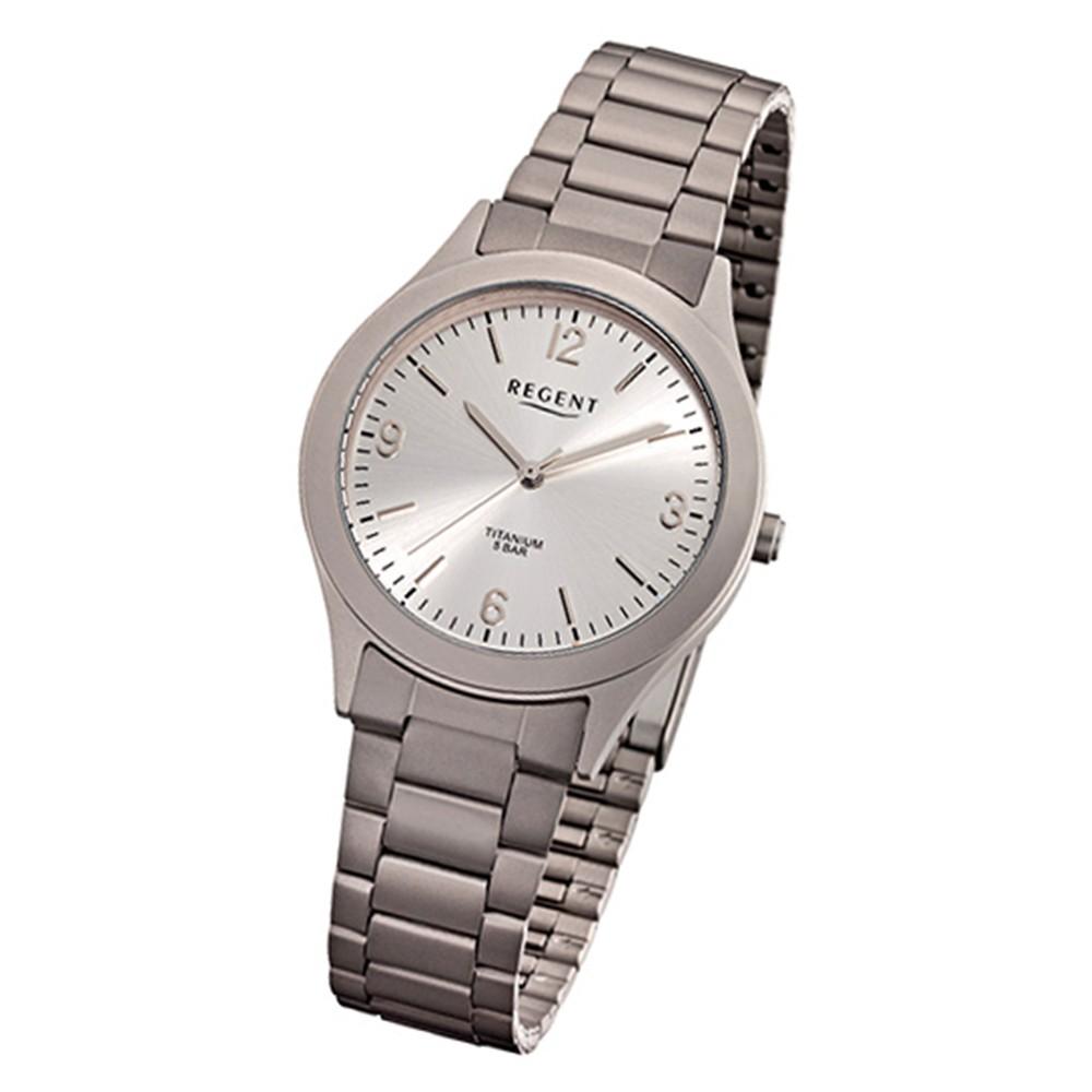 Regent Herren-Armbanduhr 32-F-1110 Quarz-Uhr Titan-Armband silber grau URF1110
