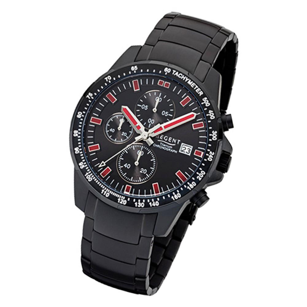 Regent Herren-Armbanduhr 32-F-1112 Quarz-Uhr Titan-Armband schwarz URF1112