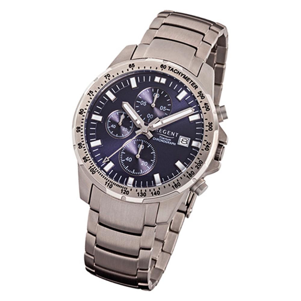 Regent Herren-Armbanduhr 32-F-1113 Quarz-Uhr Titan-Armband silber grau URF1113