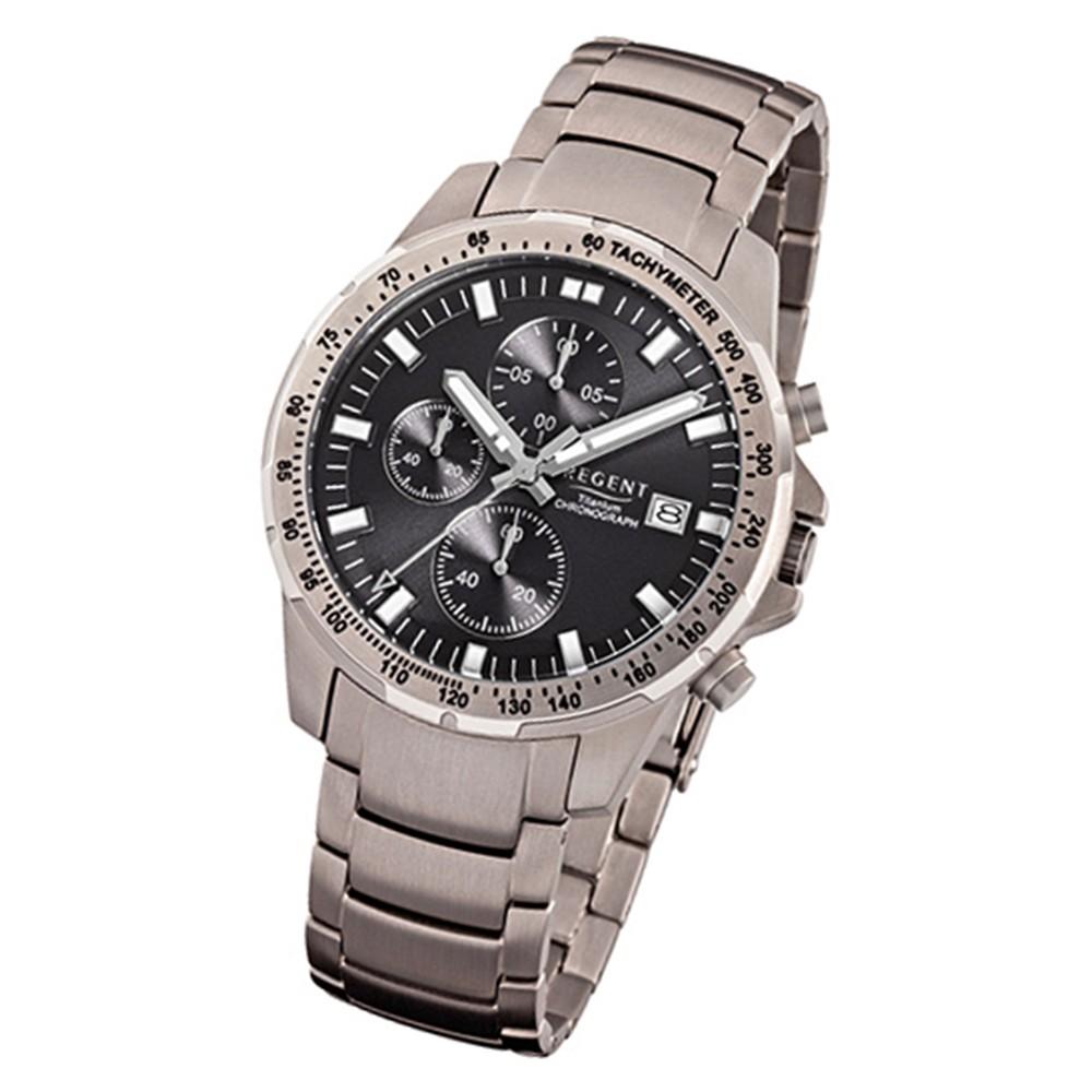 Regent Herren-Armbanduhr 32-F-1114 Quarz-Uhr Titan-Armband silber grau URF1114
