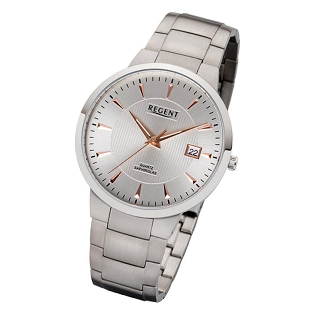 Regent Herren-Armbanduhr 32-F-1115 Quarz-Uhr Titan-Armband silber grau URF1115