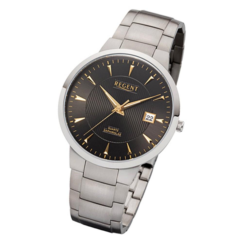 Regent Herren-Armbanduhr 32-F-1116 Quarz-Uhr Titan-Armband silber grau URF1116