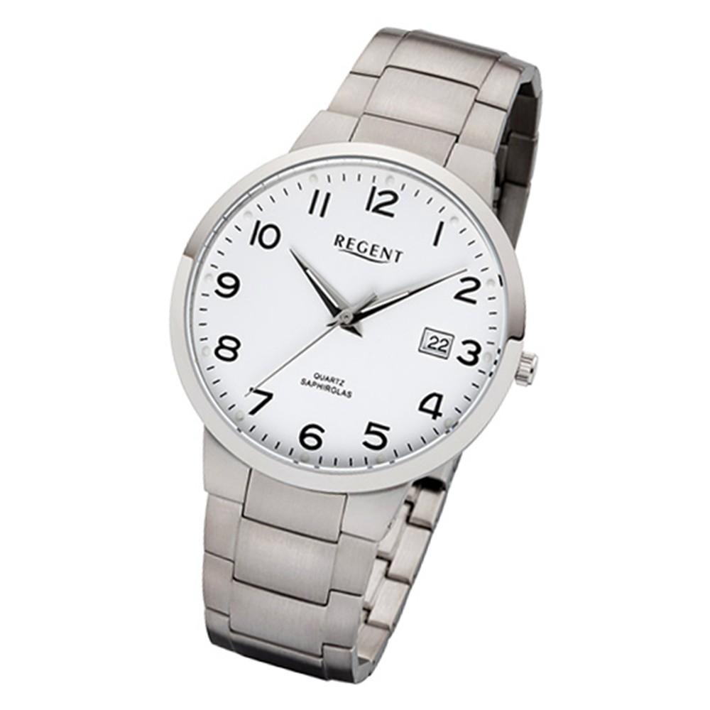 Regent Herren-Armbanduhr 32-F-1117 Quarz-Uhr Titan-Armband silber grau URF1117