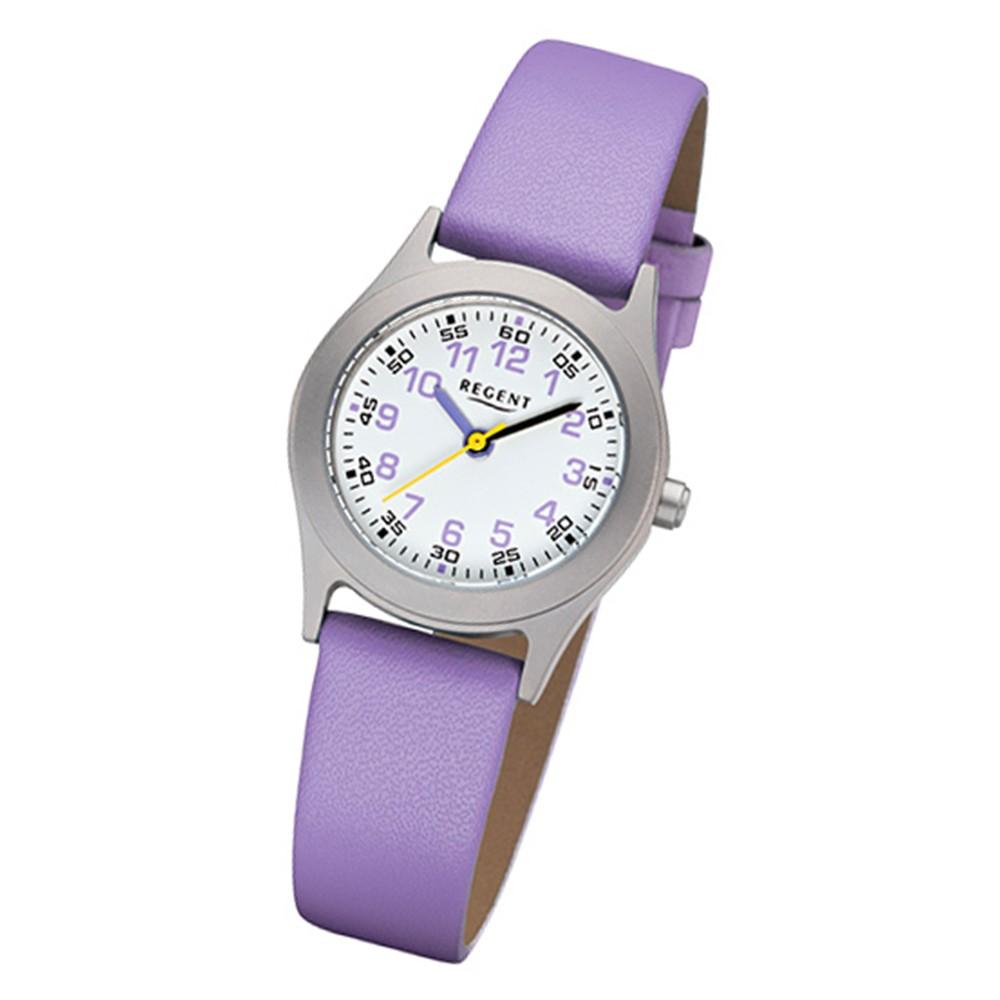 Regent Kinder-Armbanduhr 32-F-1120 Quarz-Uhr Leder-Armband lila URF1120