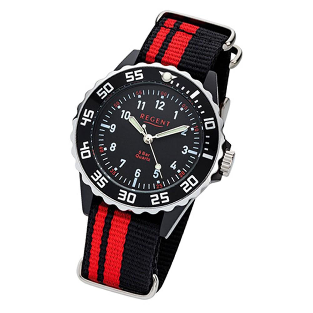 Regent Kinder, Jugend-Armbanduhr 32-F-1124 Quarz-Uhr Textil, Stoff-Armband schwarz rot URF1124