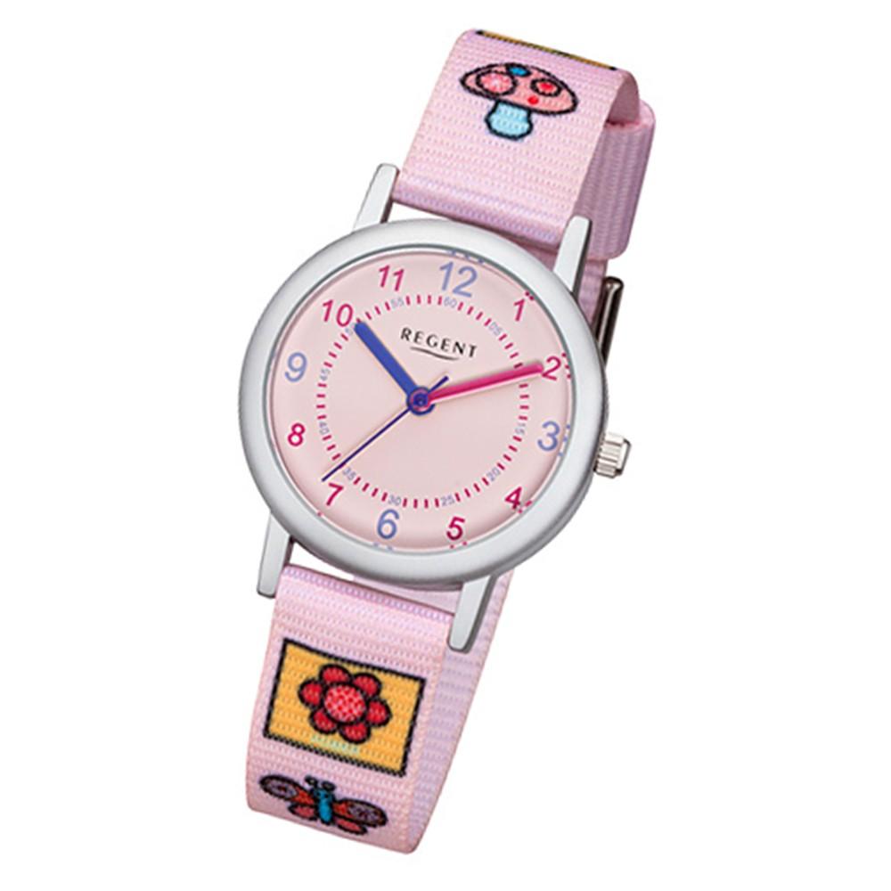 Regent Kinder-Armbanduhr 32-F-1128 Quarz-Uhr Textil, Stoff-Armband rosa URF1128