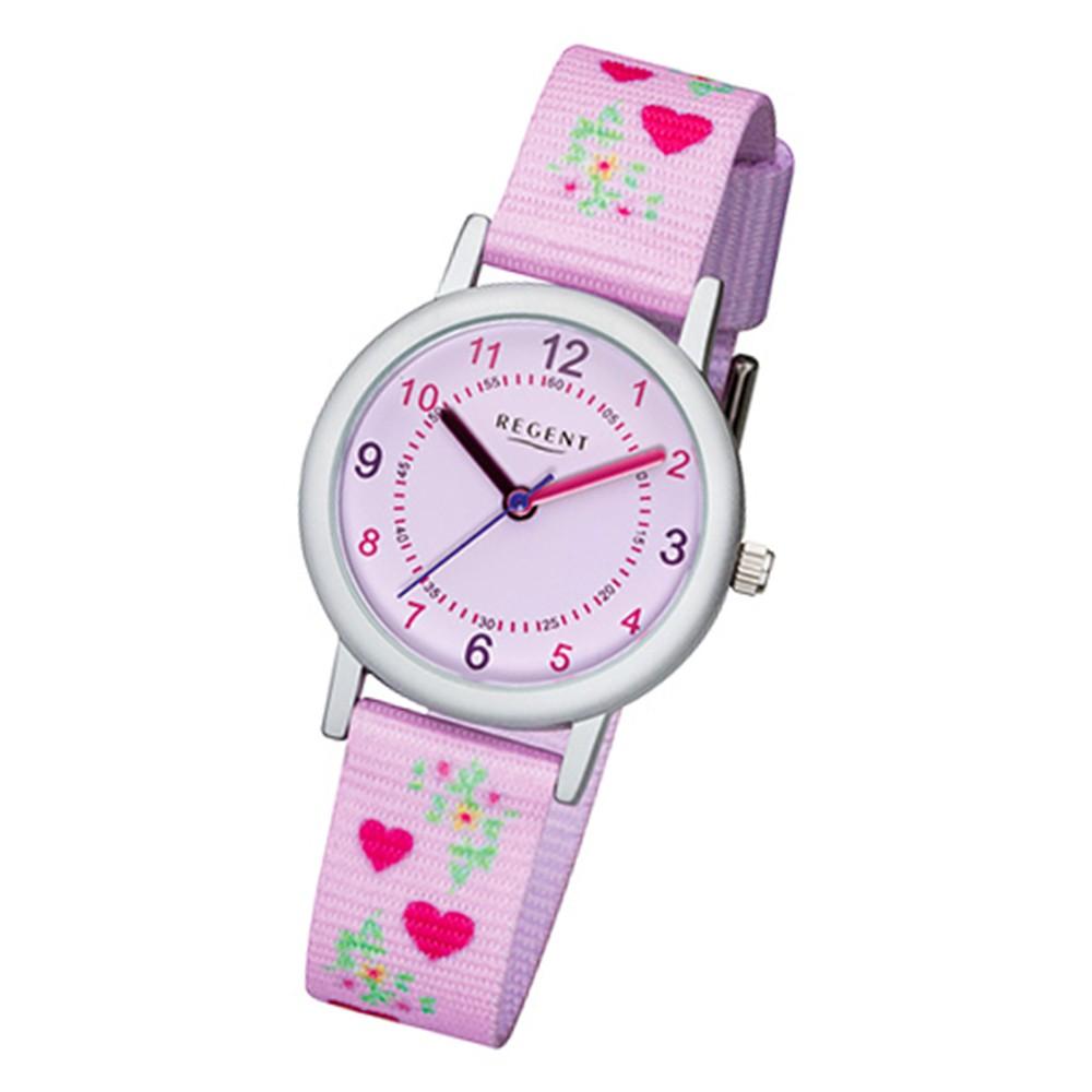 Regent Kinder-Armbanduhr 32-F-1129 Quarz-Uhr Textil, Stoff-Armband lila rosa URF1129