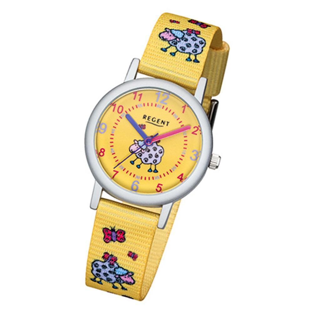 Regent Kinder-Armbanduhr 32-F-1134 Quarz-Uhr Textil, Stoff-Armband gelb URF1134