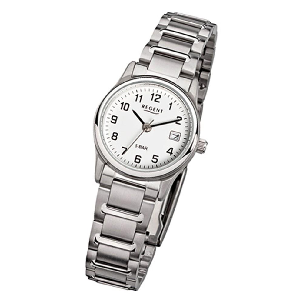 Regent Damen-Armbanduhr F-140 Quarz-Uhr Stahl-Armband silber URF140