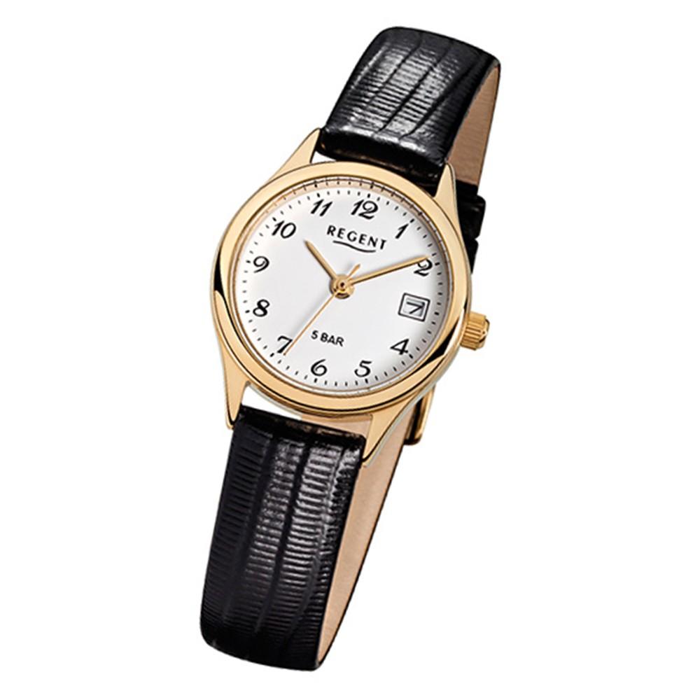 Regent Damen-Armbanduhr F-327 Quarz-Uhr Leder-Armband schwarz URF327