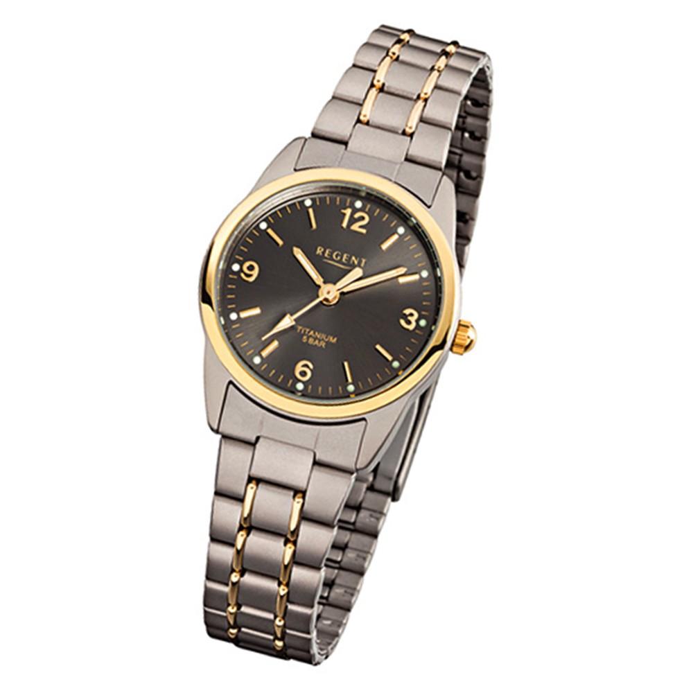 Regent Damen-Armbanduhr Mineralglas Quarz Titan (Metall) grau silber gold URF429