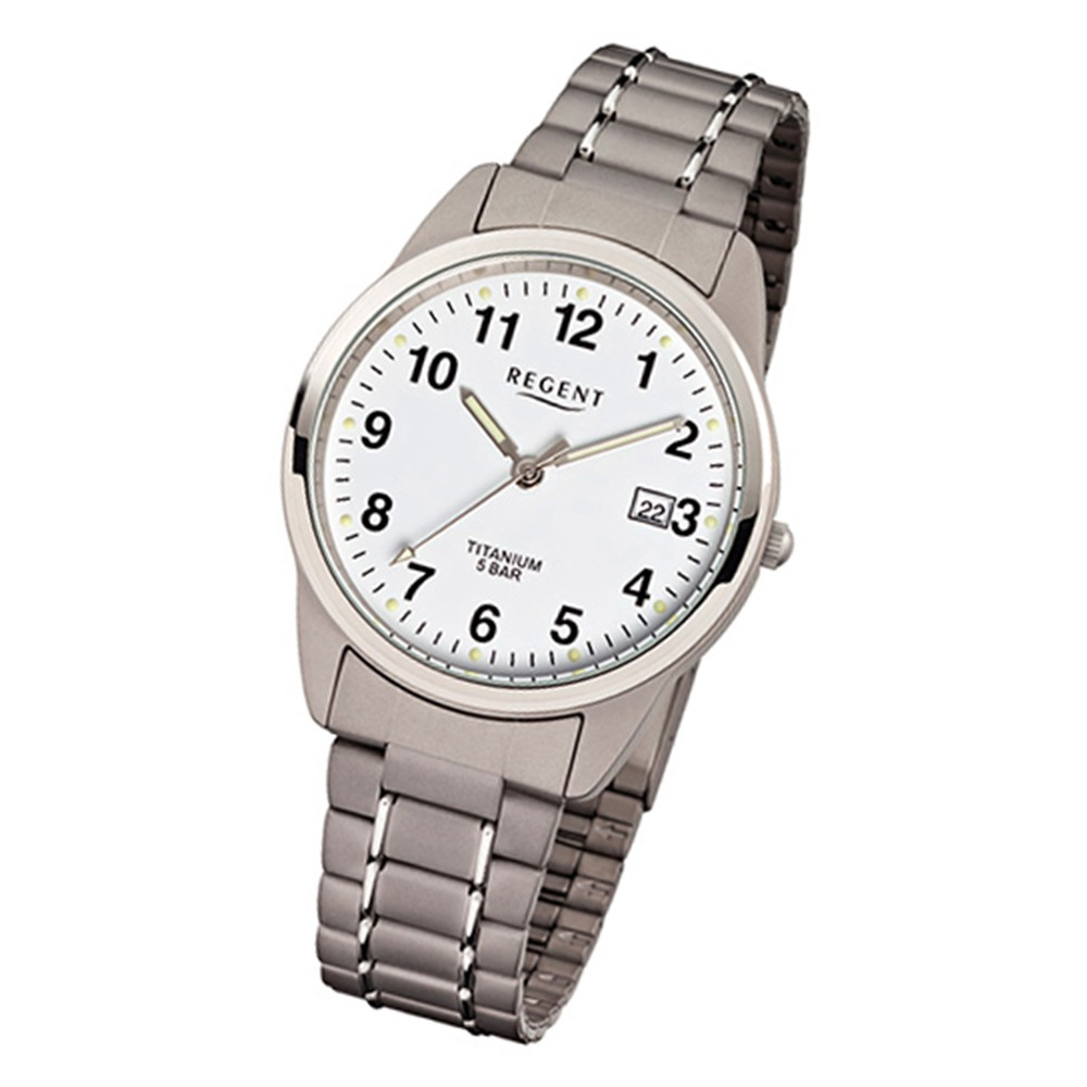 Regent Herren-Armbanduhr Mineralglas Quarz Titan (Metall) grau silber URF432
