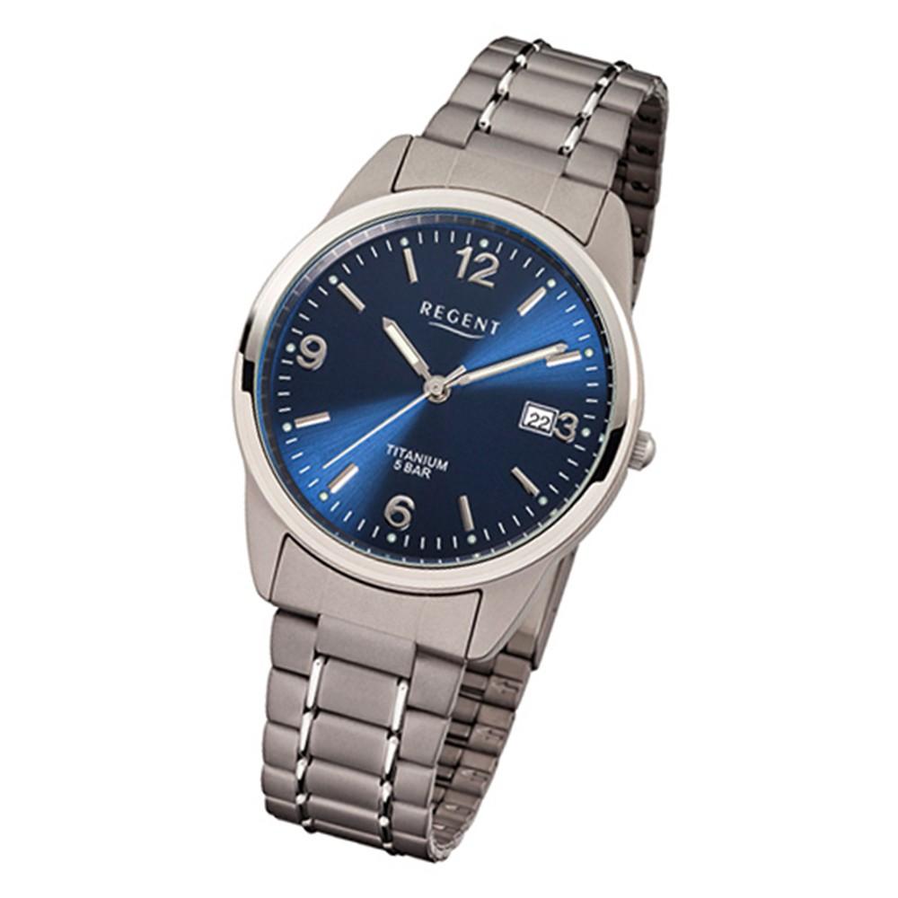 Regent Herren Titan Armbanduhr Mineralglas Quarz Titan silber grau URF433