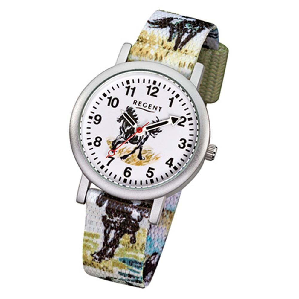 Regent Kinder-Armbanduhr Pferde Quarz Aluminium Textil mehrfarbig URF489