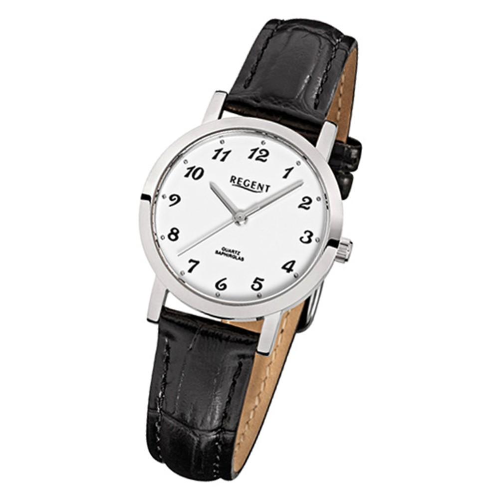 Regent Damen Armbanduhr Quarzwerk Saphirglas Lederarmband schwarz Uhr URF514