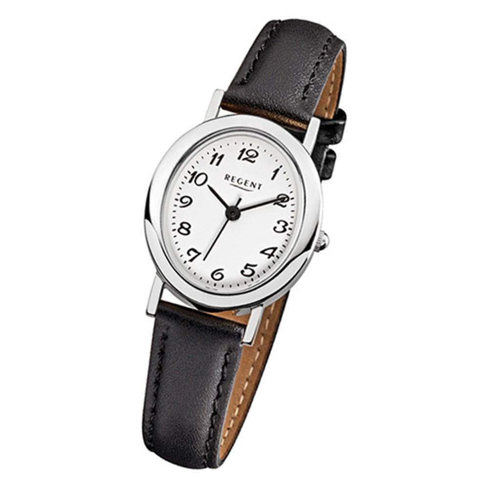 Regent Damen-Uhr Mineralglas Edelstahl Leder schwarz Quarzwerk URF580
