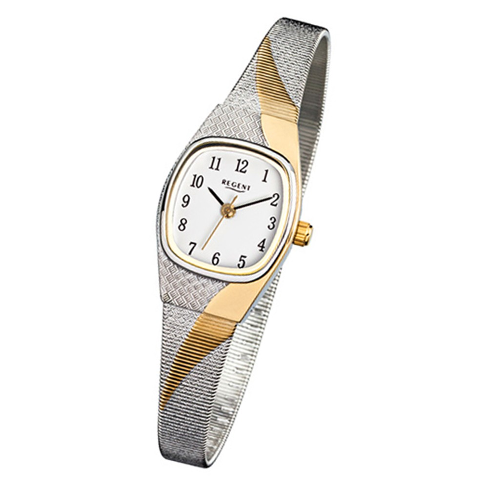 Regent Damen-Uhr Mineralglas Quarzwerk Edelstahl silber gold URF625