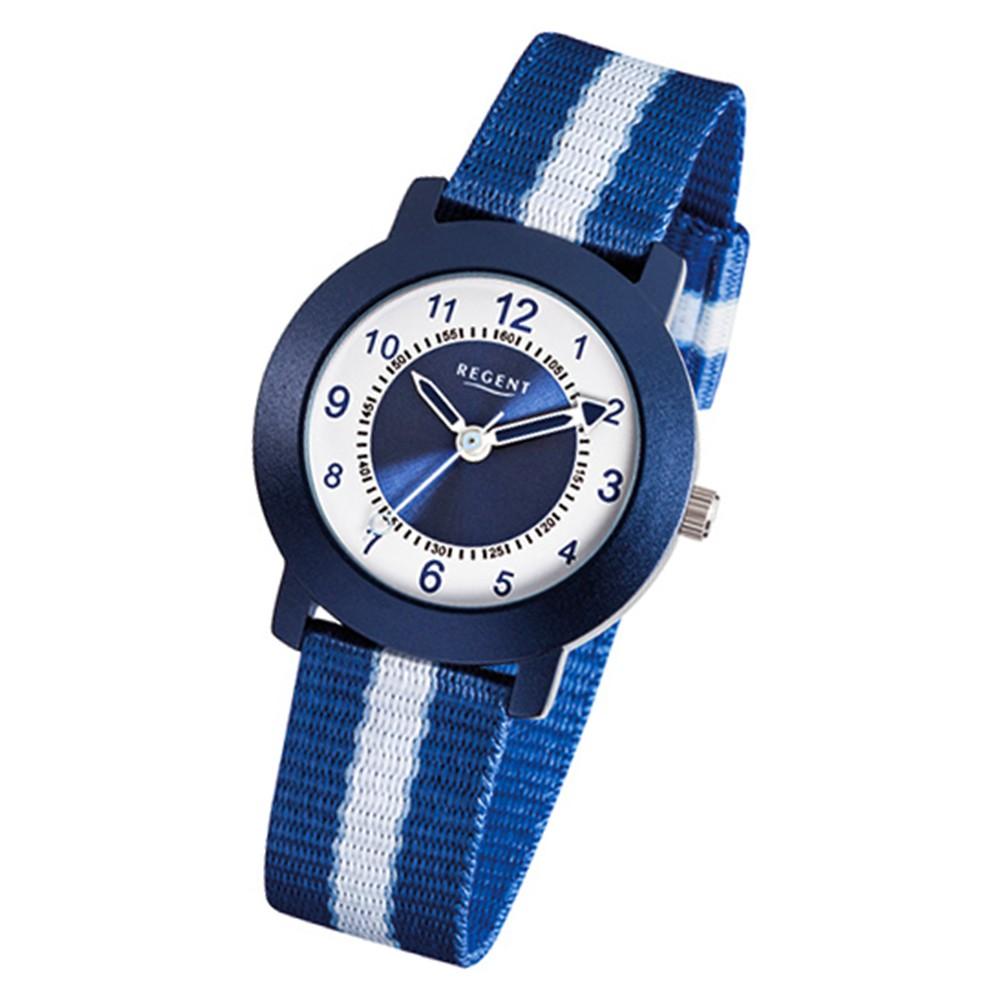 Regent Aluminium Kinder-Armbanduhr Quarz Textil blau, weiß Jungen Uhr URF726