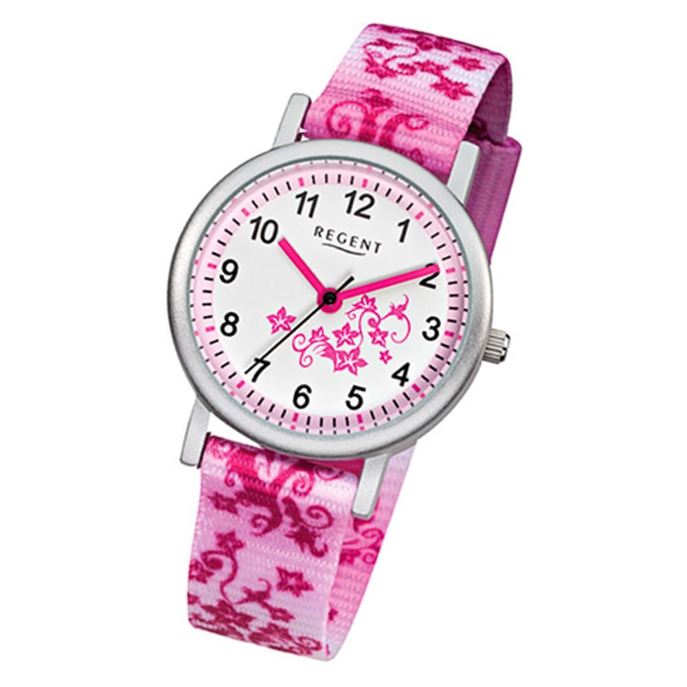 regent blumenranke kinder armbanduhr textil rosa pink wei. Black Bedroom Furniture Sets. Home Design Ideas