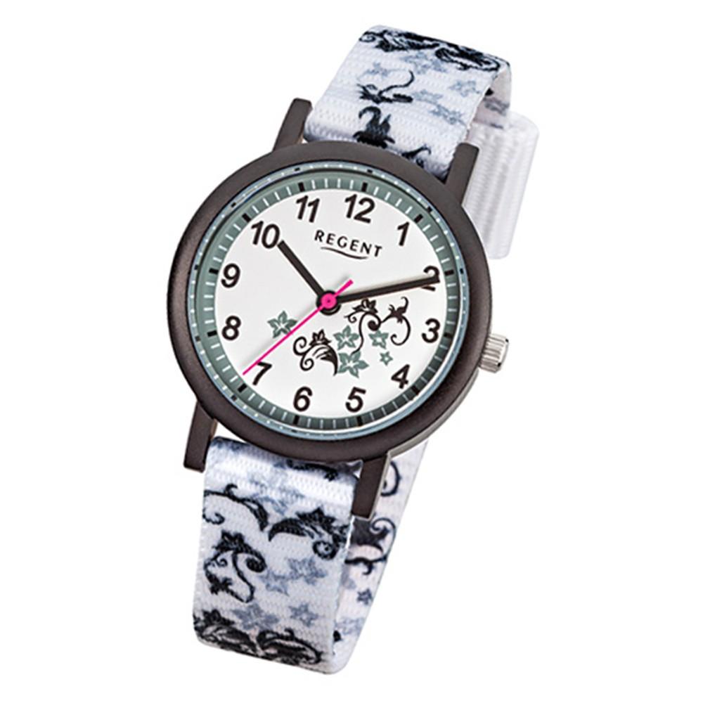 Regent Kinder-Armbanduhr Blumenranke Quarzwerk Textil-Armband weiß URF728