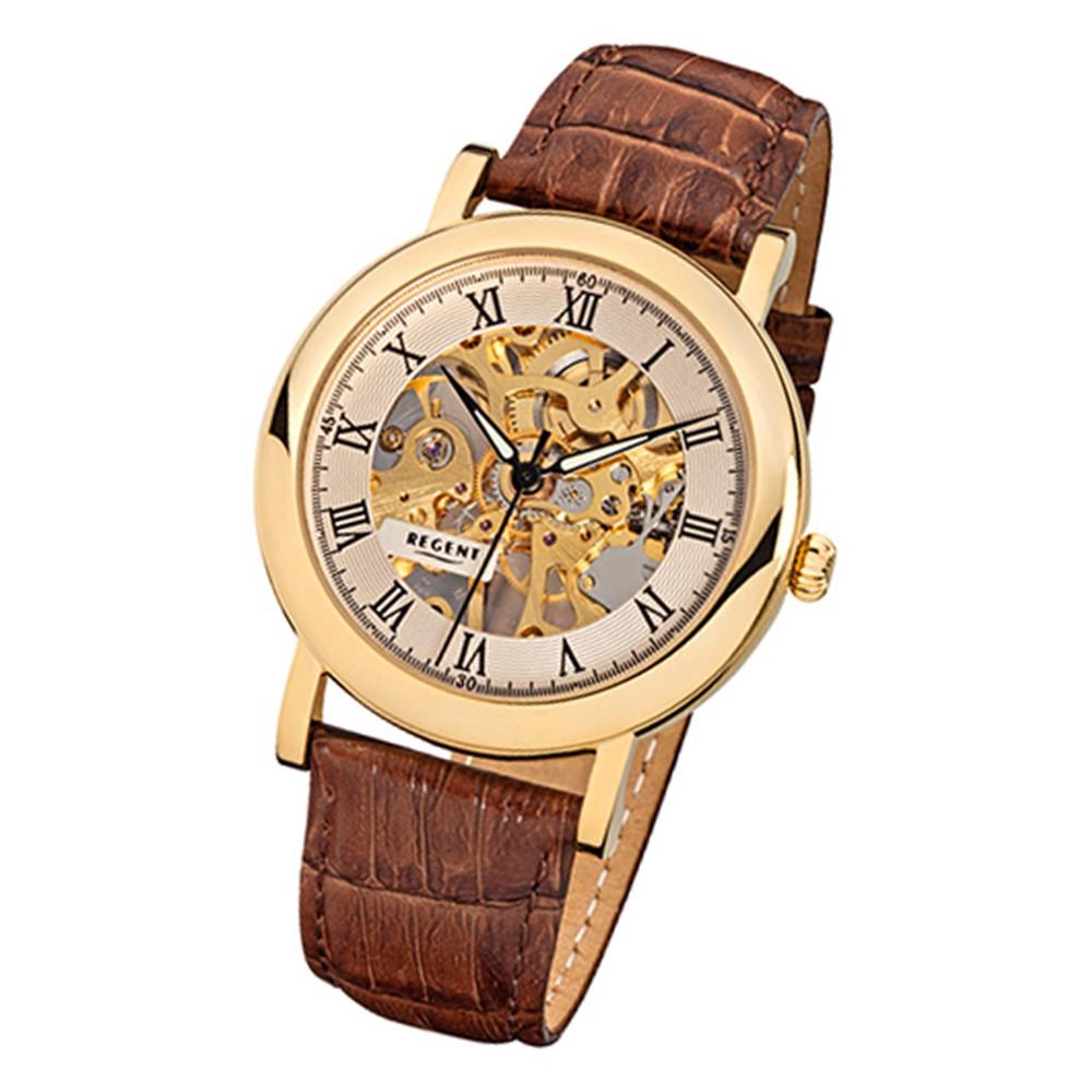 Regent Herren-Armbanduhr Mineralglas Handaufzug Leder braun mechanisch URF758