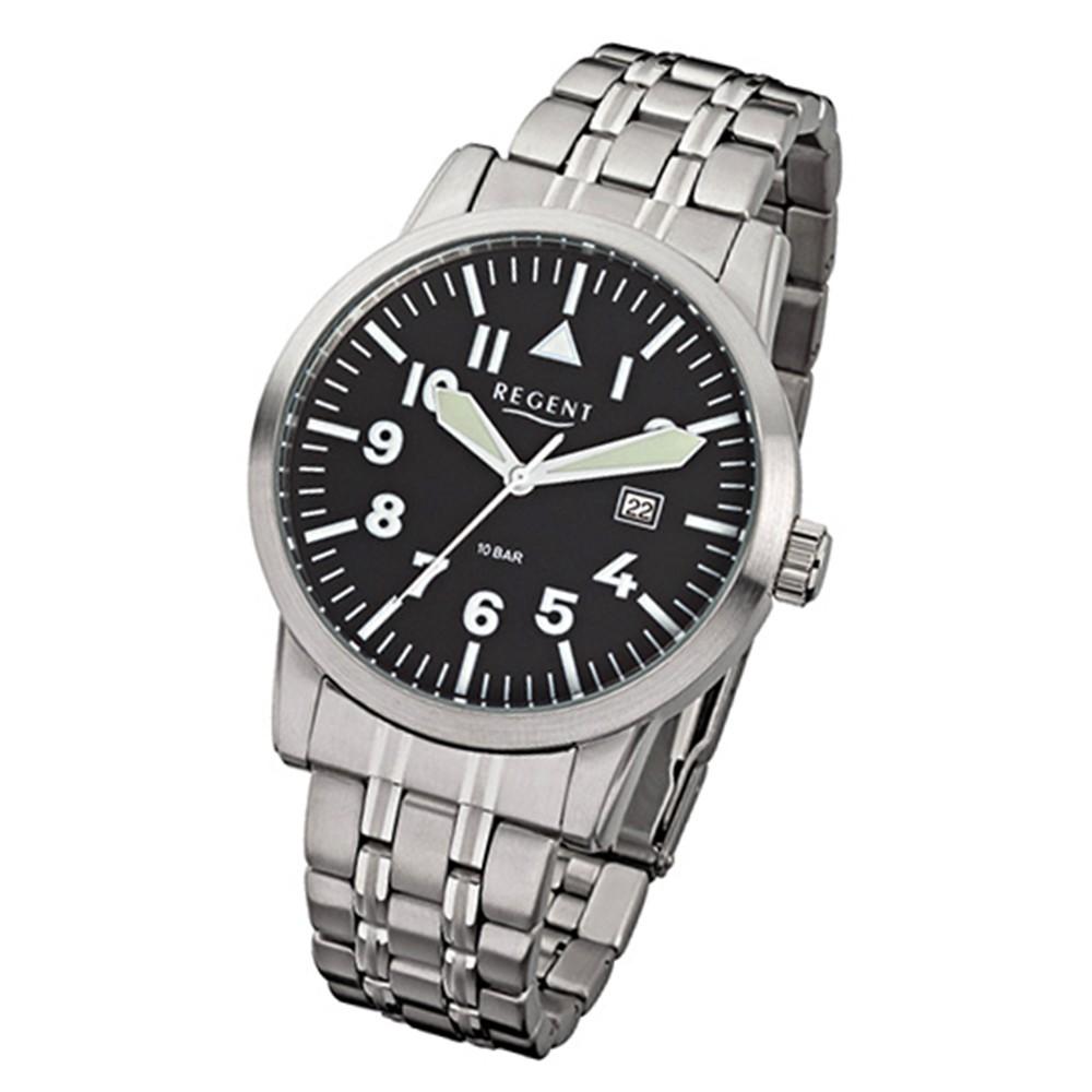 Regent Herren-Armbanduhr F-778 Quarz-Uhr Stahl-Armband silber URF778