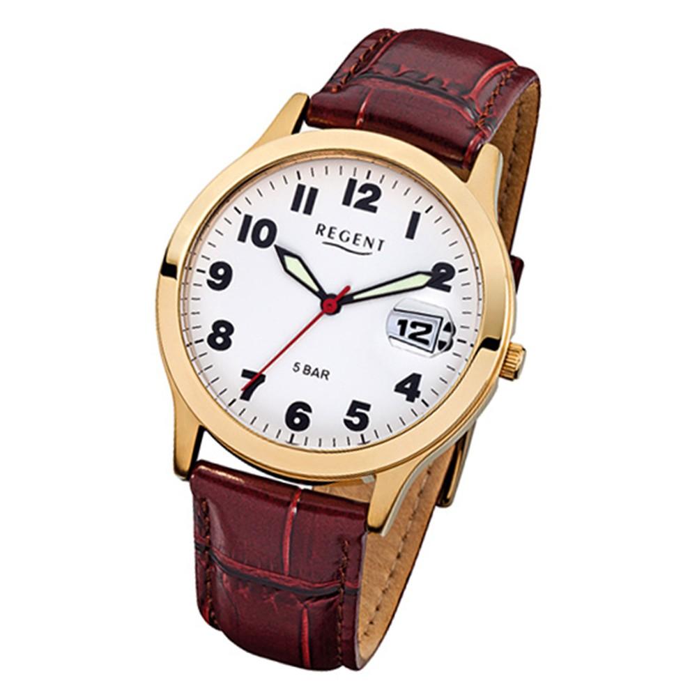 Regent Herren-Armbanduhr Mineralglas Quarz Leder braun URF789