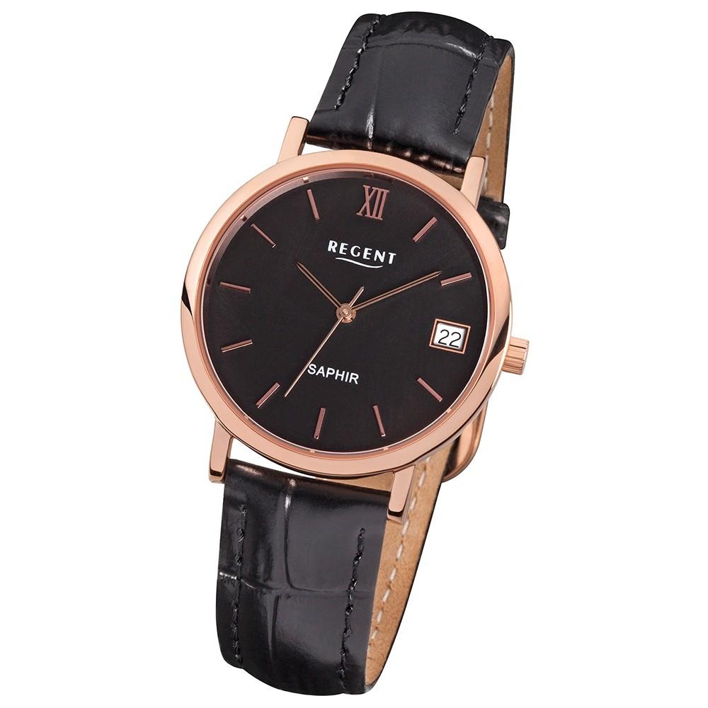 Regent Damen-Uhr Saphirglas Quarzwerk Leder-Armband schwarz URF812