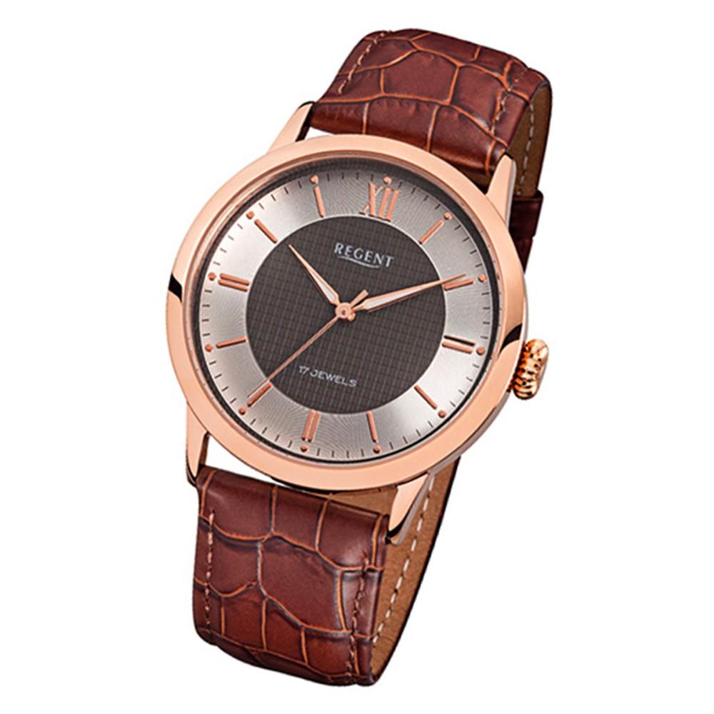 Regent Herren-Armbanduhr Handaufzug mechanisch Leder braun roségold Uhr URF815