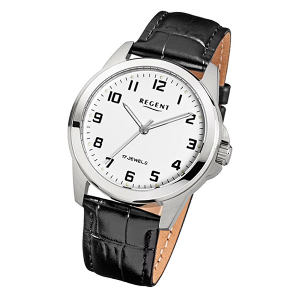 Regent Herren-Uhr mechanisch Handaufzug Leder schwarz Leuchtzeiger Uhr URF819