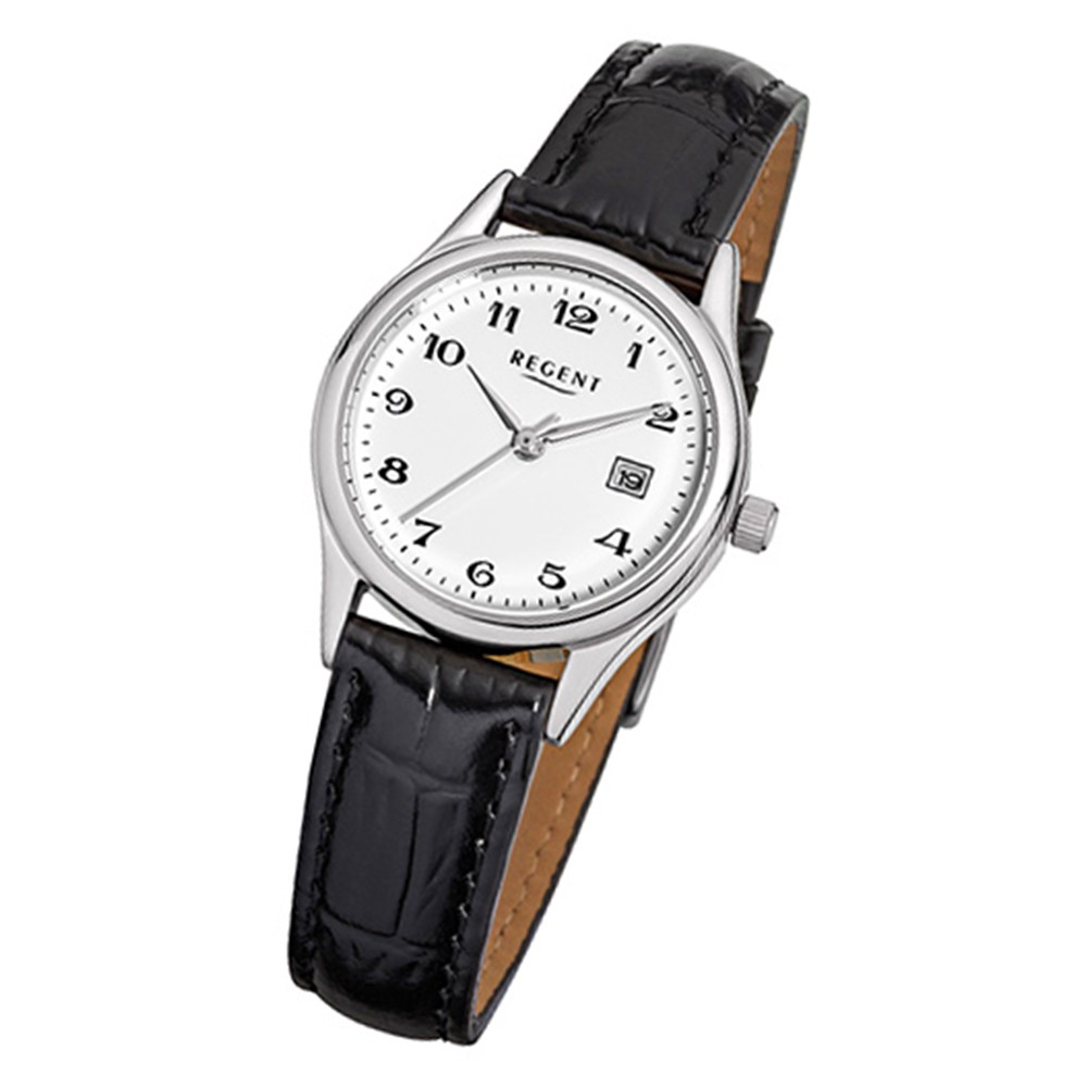 Regent Damen-Armbanduhr - Regent Lederarmband - Quarz Leder schwarz URF833