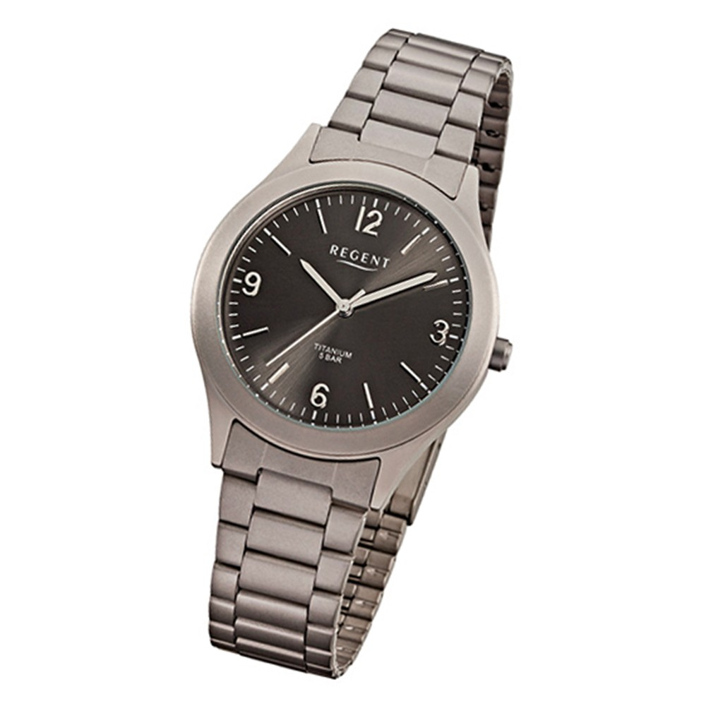 Regent Herren-Armbanduhr Mineralglas Quarz Titan (Metall) grau silber URF838