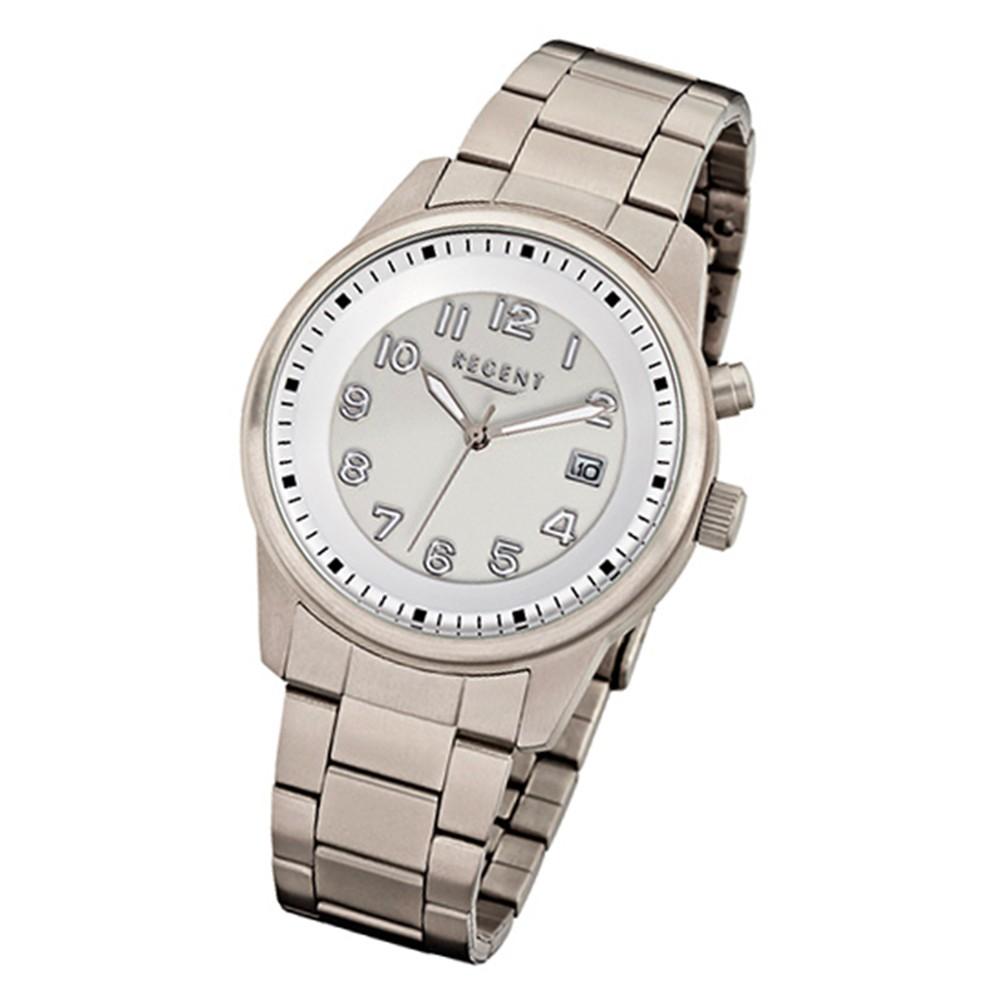 Regent Herren-Armbanduhr 32-F-839 Quarz-Uhr Titan-Armband silber grau URF839
