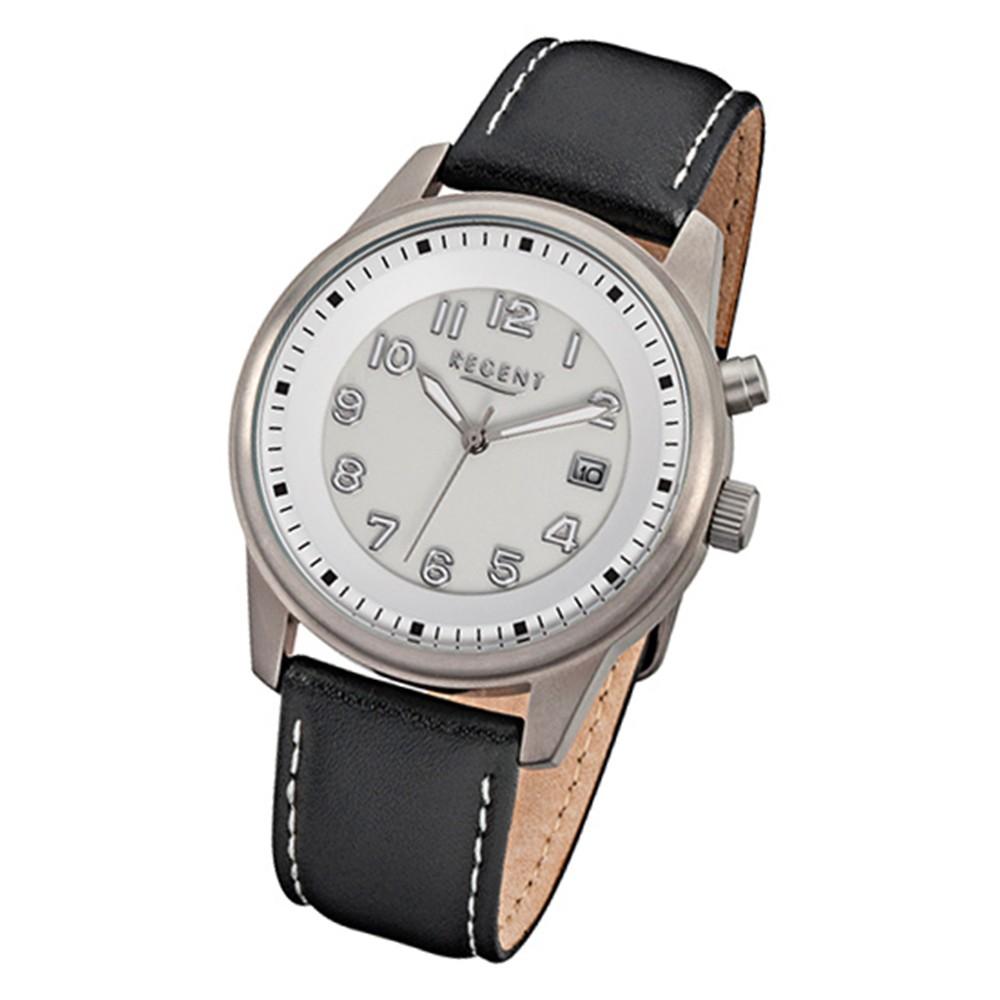 Regent Herren-Armbanduhr 32-F-846 Quarz-Uhr Leder-Armband schwarz URF846