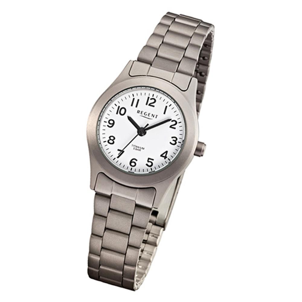 Regent Damen-Armbanduhr Mineralglas Quarz Titan (Metall) grau silber URF855