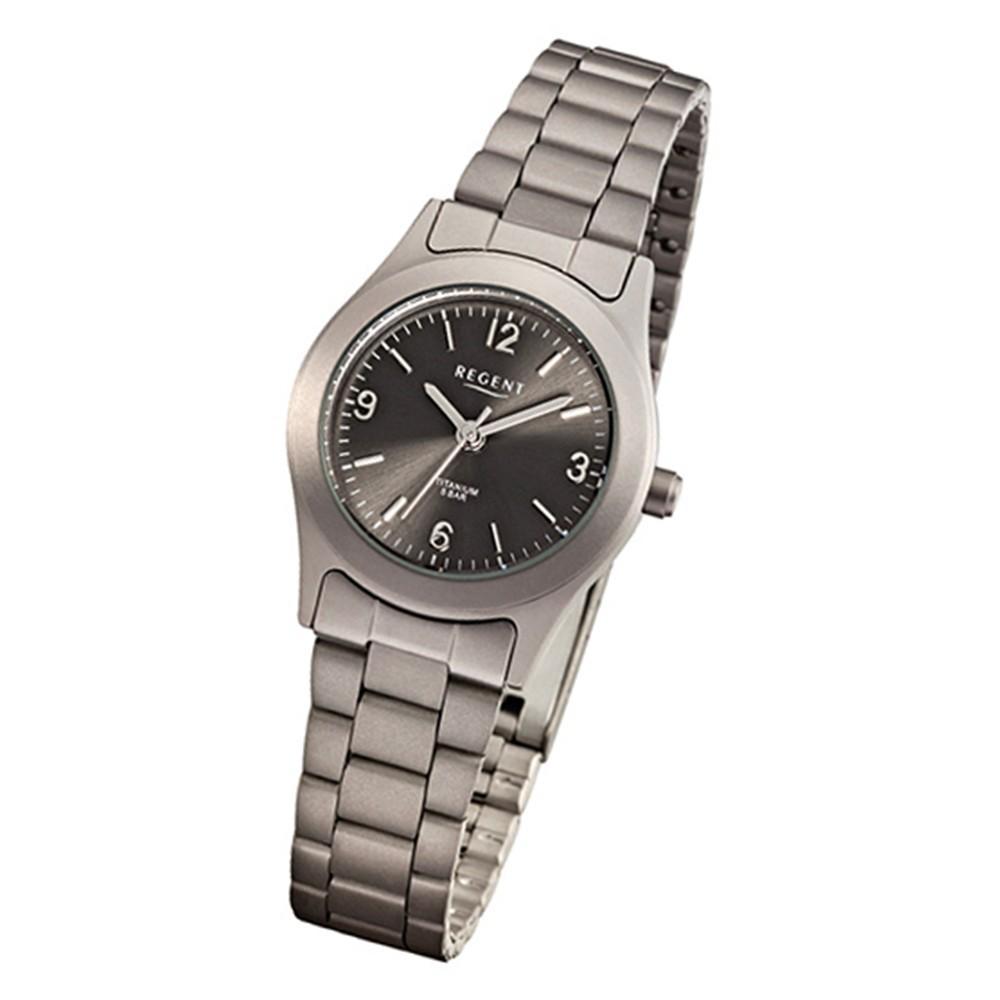 Regent Damen-Armbanduhr grau schwarz Titan Damenuhr - Quarz-Uhr URF856
