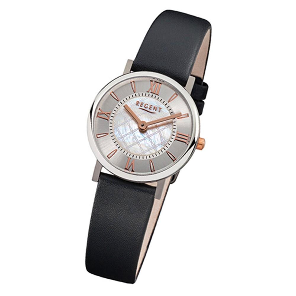 Regent Damen-Armbanduhr - Titan Damenuhren - Quarz Leder schwarz URF869