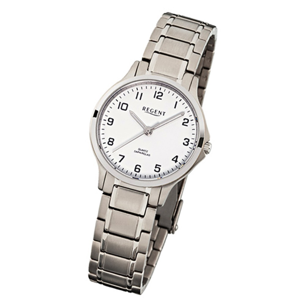 Regent Damen-Armbanduhr Titan Saphirglas Quarz silber weiß Uhr URF901