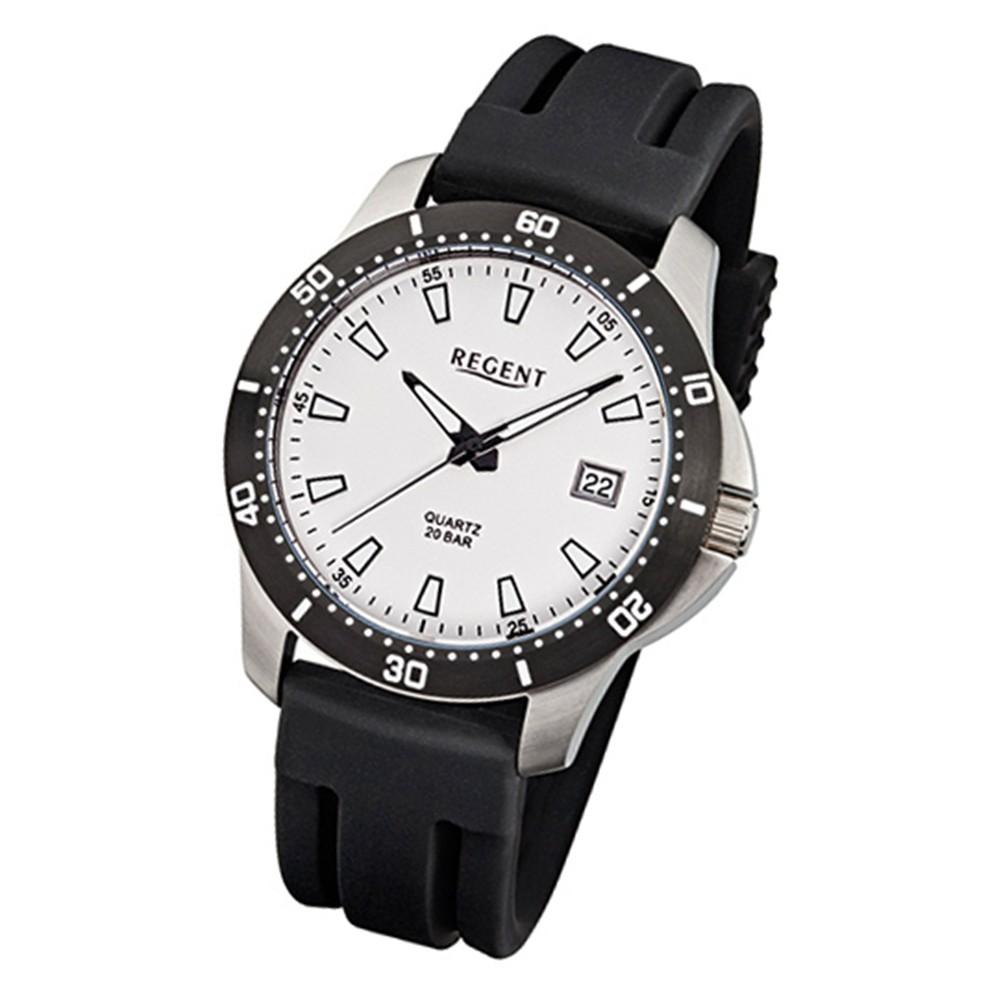 Regent Herren-Armbanduhr F-912 Quarz-Uhr Kunststoff-Armband schwarz URF912